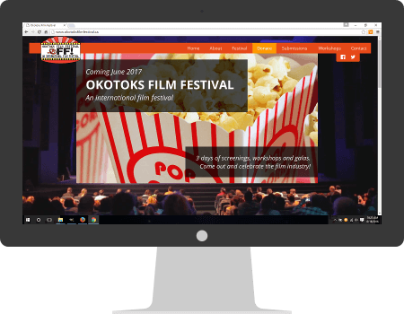 Okotoks Film Festival website, desktop view